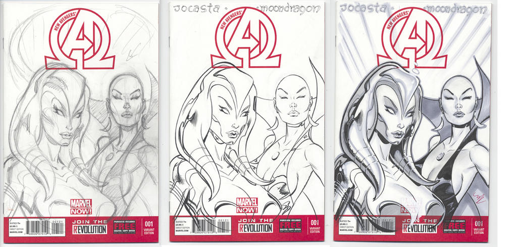 AVENGERS COVER Jocasta and Moondragon by MichaelDooney