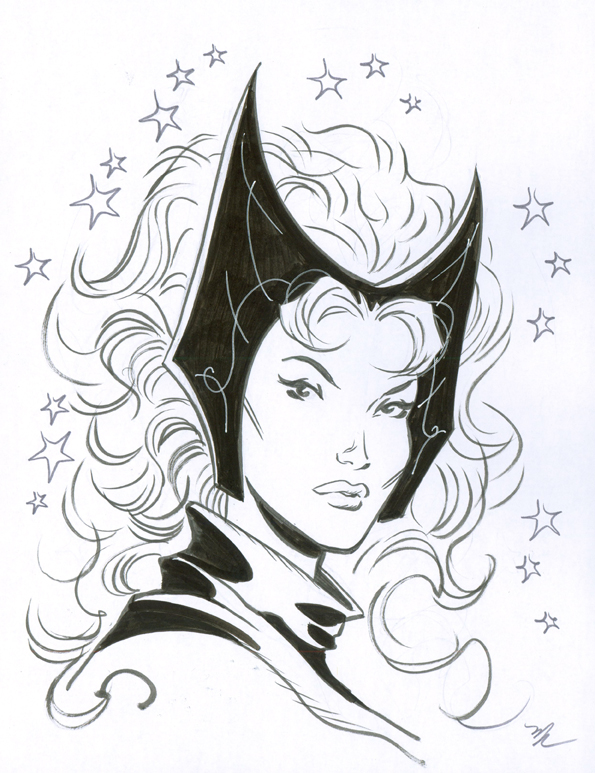Scarlet Witch head sketch by MichaelDooney