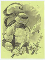Leo tmnt ninja turtle ink wash drawing by MichaelDooney