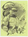 Leo tmnt ninja turtle ink wash drawing