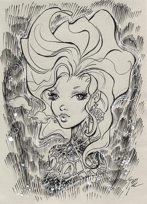 cosmic girl Inktober #11 by MichaelDooney