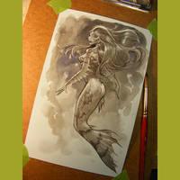 mermaid watercolor wash