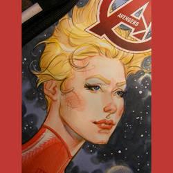 Captain Marvel watercolor by MichaelDooney