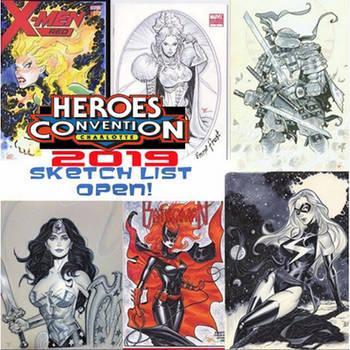 heroes con sketch list open by MichaelDooney