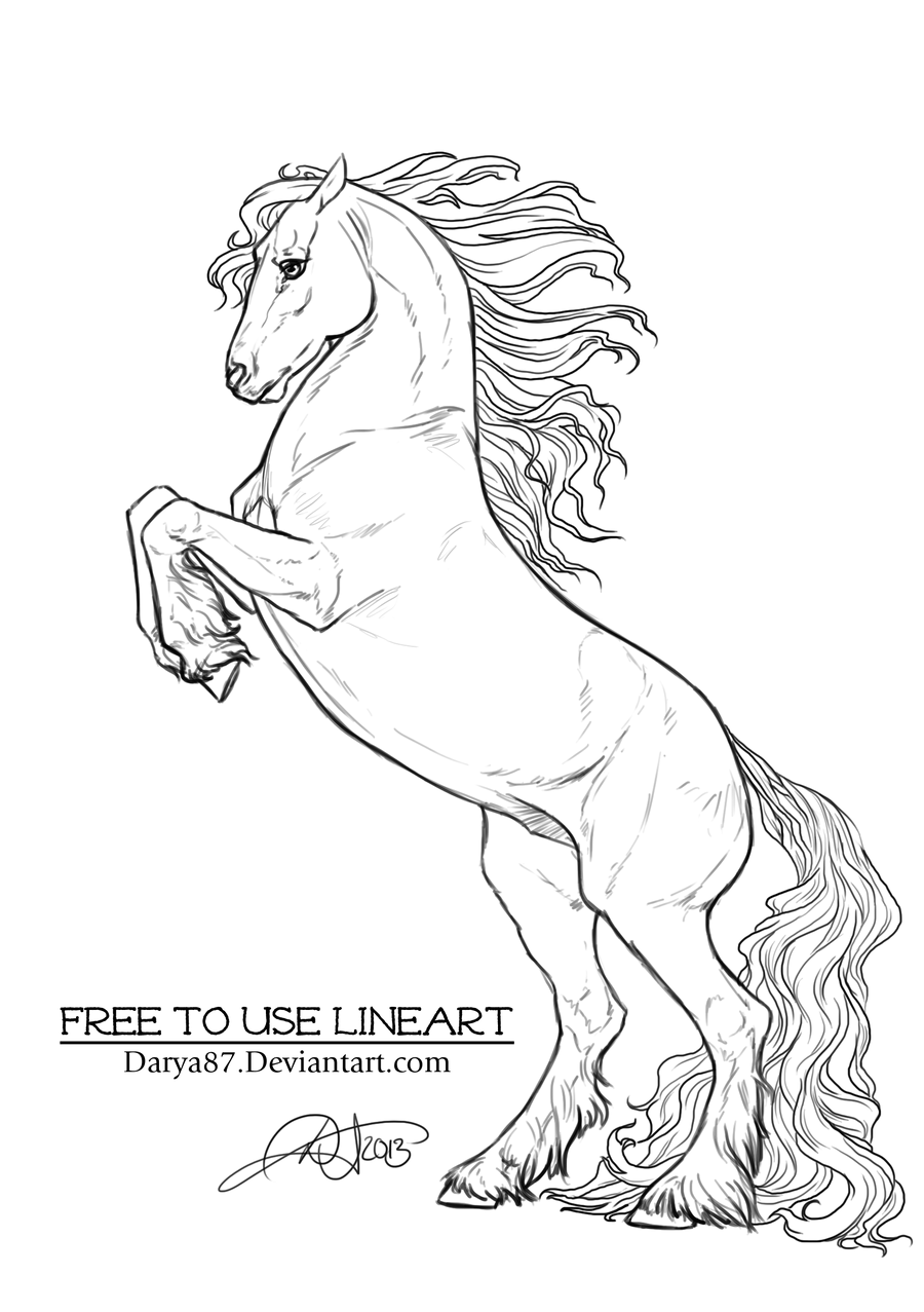 Friesian horse printing pictures coloring pages ~ Free to Use Lineart Rearing Frisian by Darya87 on DeviantArt