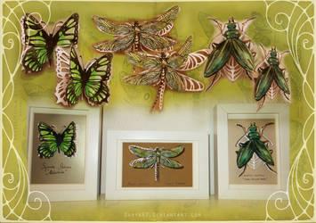 Green Papercut Set by Darya87