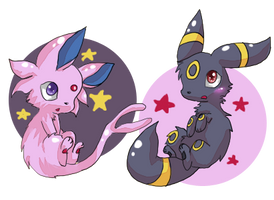 Espeon + Umbreon by cheerubi