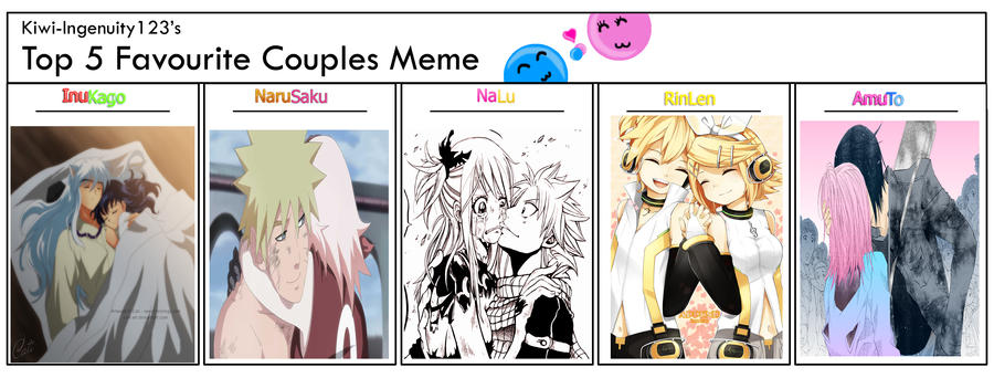 Meme: My Top 5 Favorite Couples by Minni-Alice
