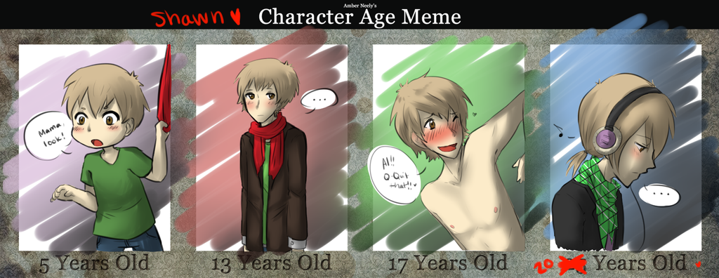 Character Age Meme // Shawn by banANNUmon