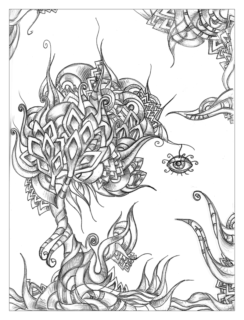 Psychedelic tree by tellaine on deviantart for Trippy coloring pages