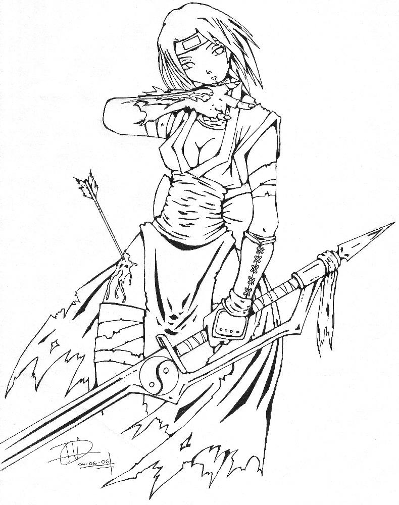 Female Ninja Coloring Coloring Pages