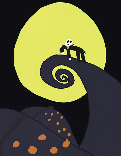 Nightmare Before Christmas on the iconic hill overlooking a pumpkin ... Nightmare Before Christmas Pumpkin Patch Drawing