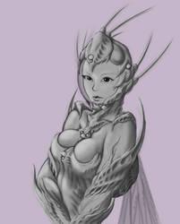 Girl in insectoid bio-pressure suit.(sketch)2 by 4etJIanin