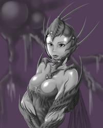 Girl in insectoid bio-pressure suit.(sketch)3 by 4etJIanin