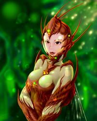 Girl in insectoid bio-pressure suit by 4etJIanin