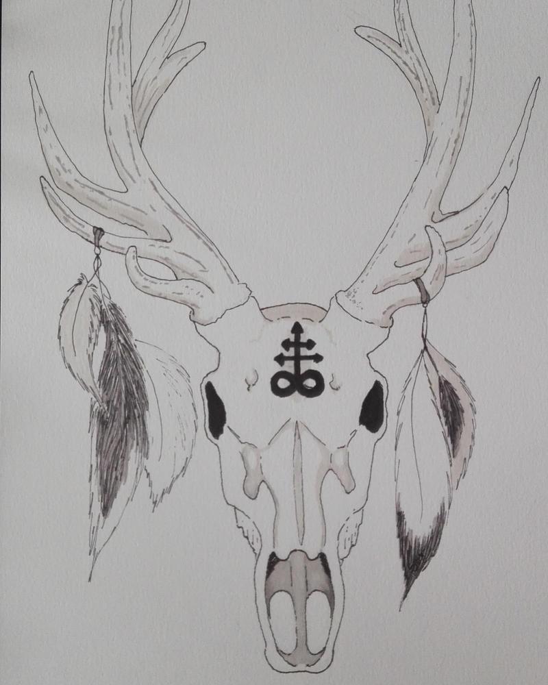 Deer skull by LittleSmallSonya