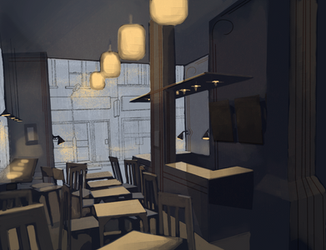 Cafe: afternoon rain