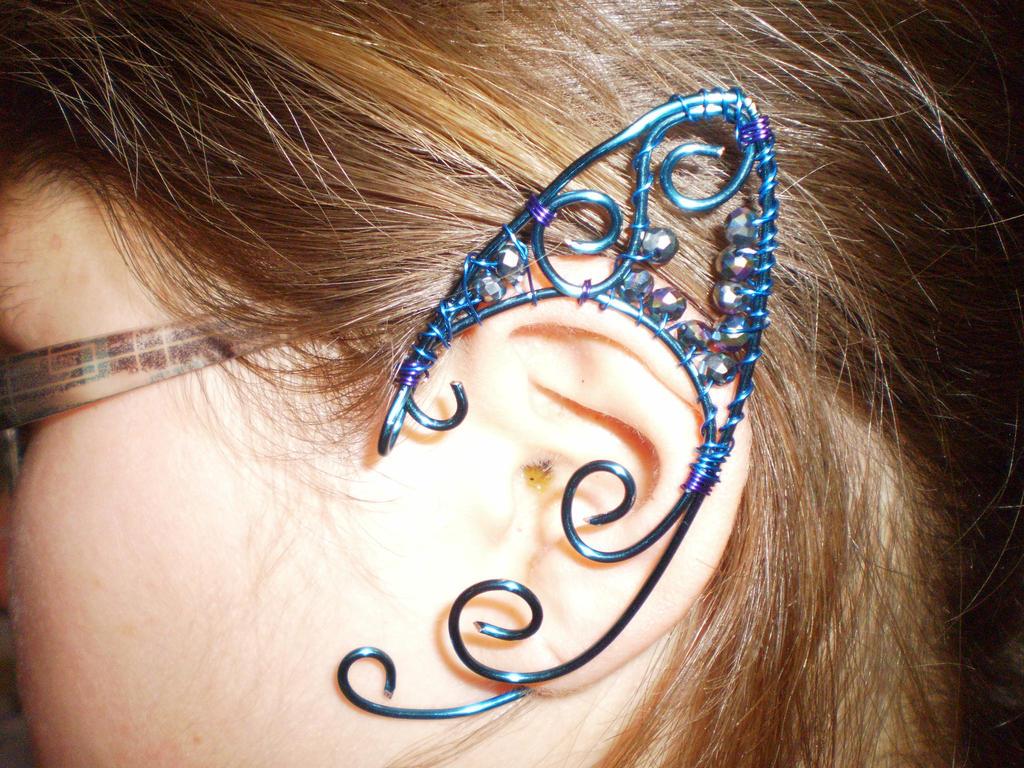 Blue Elf Ear Cuff by Deamonblade12