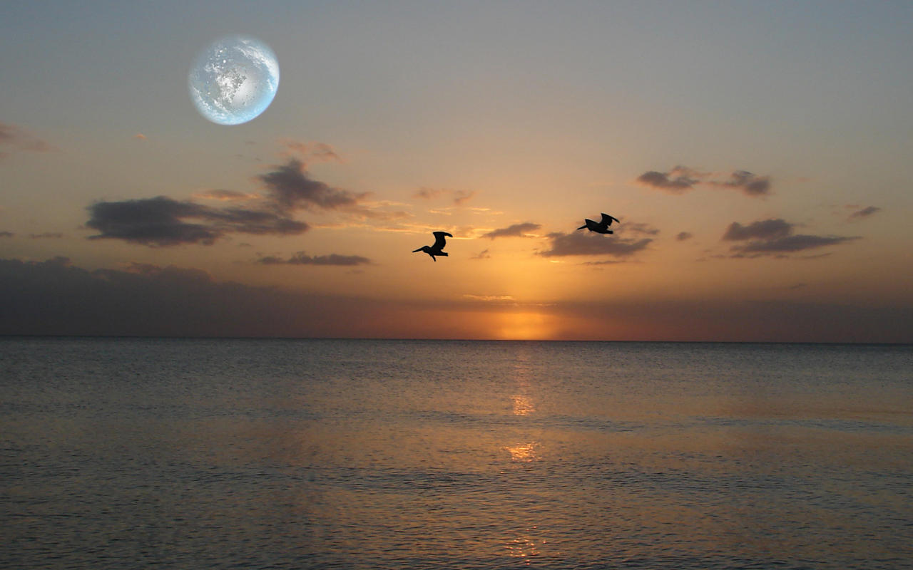 Terraformed Moon at Sunset by Ittiz