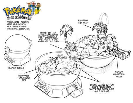 Pokemon Micro Mini Playset : Beach Playset
