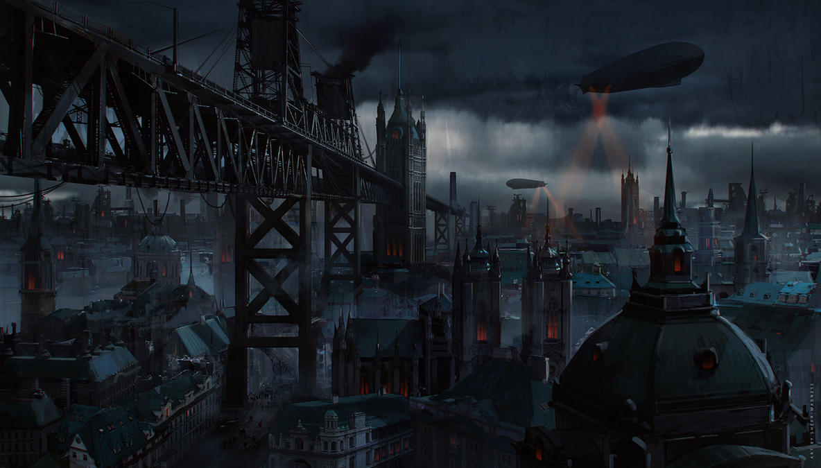 steampunk city scapes