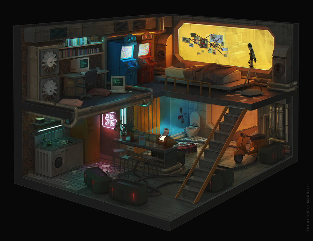 Cyberpunk room. by sheer-madness