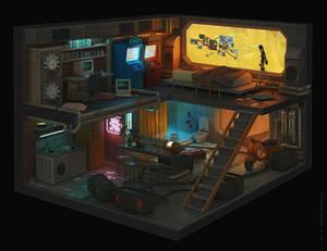 Cyberpunk room.