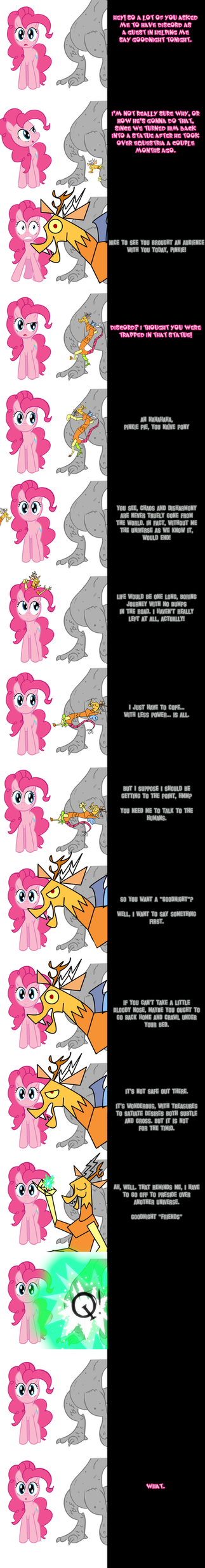 Pinkie and Discord say 'Goodnight' by Undead-Niklos
