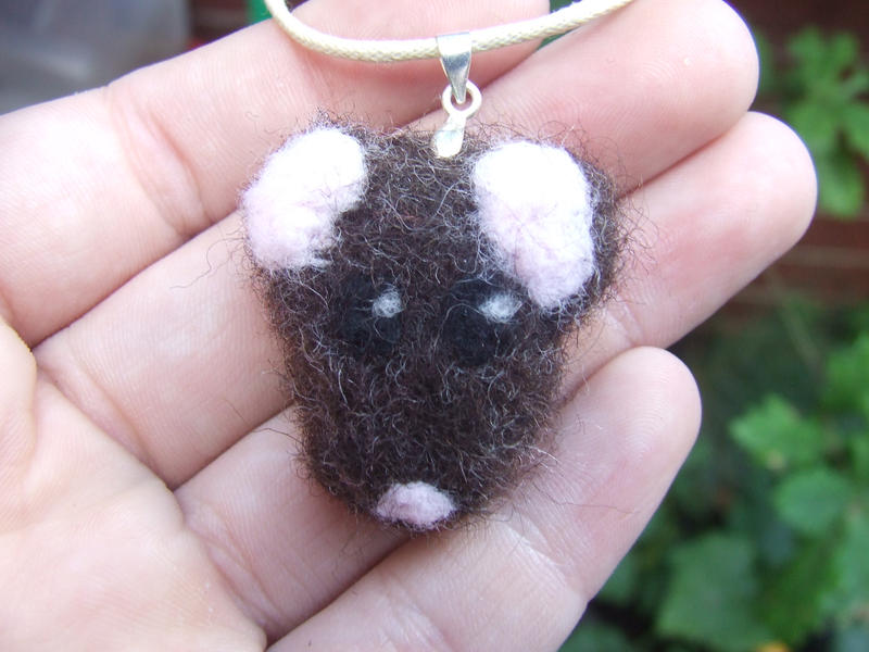 Felted necklace - Agouti rat by kez245