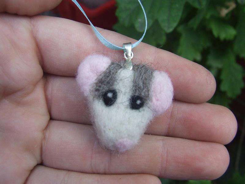 Felted necklace - Husky rat by kez245