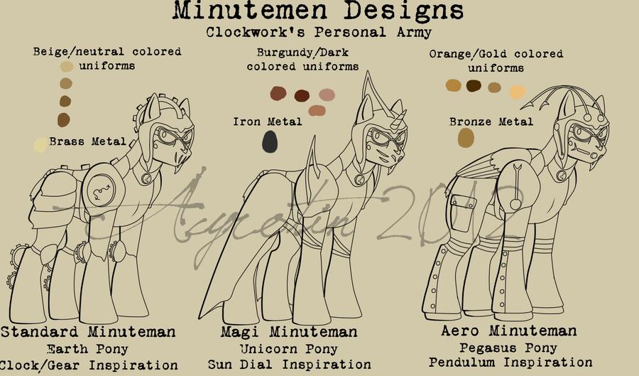MLPFIM: Clockwork's Army - Minutemen Designs -WIP- by Acyrotin