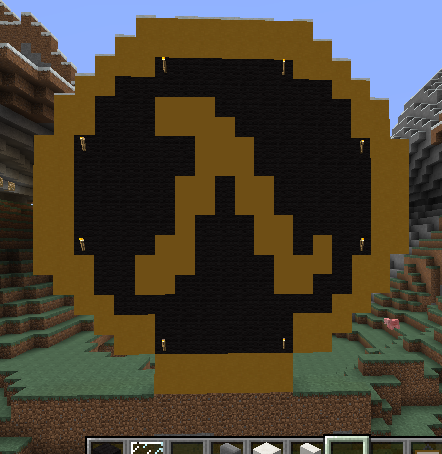how to build a minecraft logo in minecraft