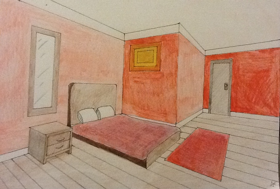 A room drawn with two point perspective by alexcliffy92 on for Bedroom 2 point perspective