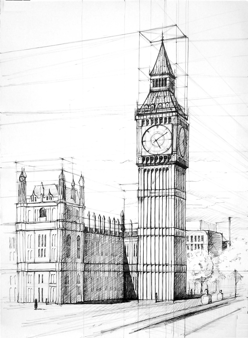 Картинки биг бена в лондоне карандашом