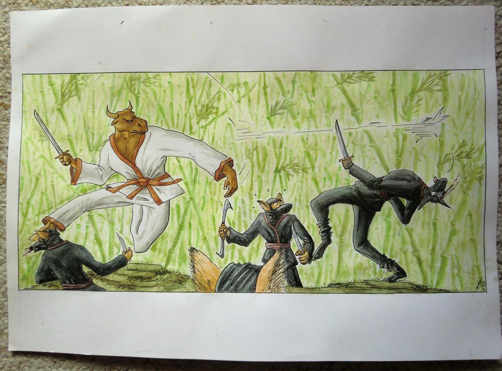 Quiet little lotus versus canid-ninjas by Reviston