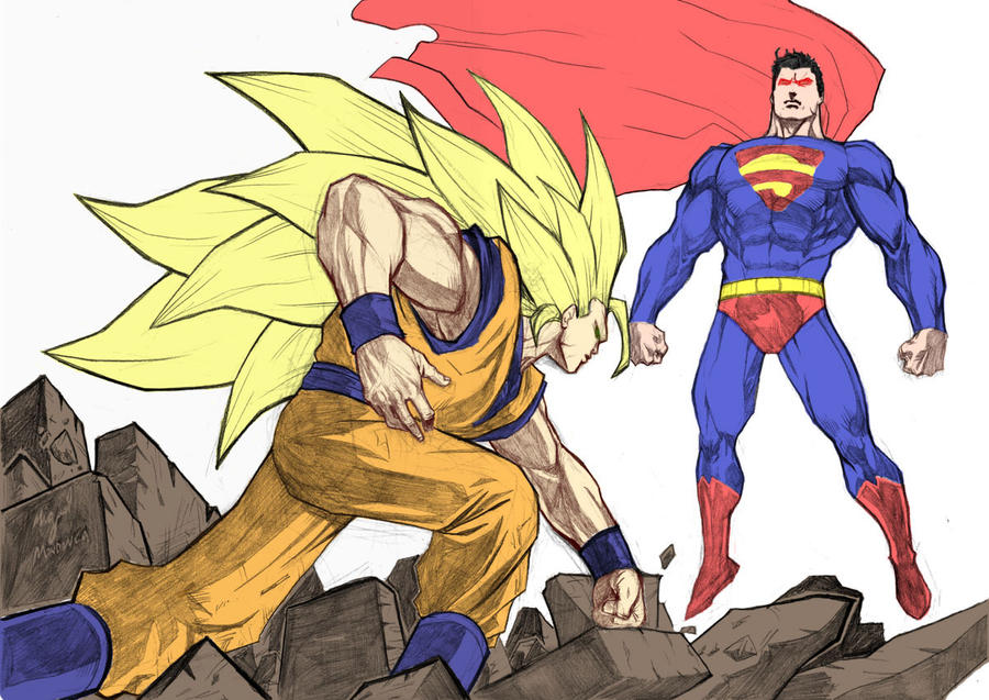 Goku Vs Superman Colour by toms2435 on DeviantArt