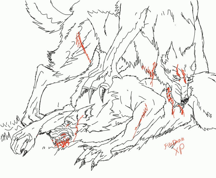 Fighting Wolf Drawings Wolf fight by firedancexpFighting Wolf Drawings