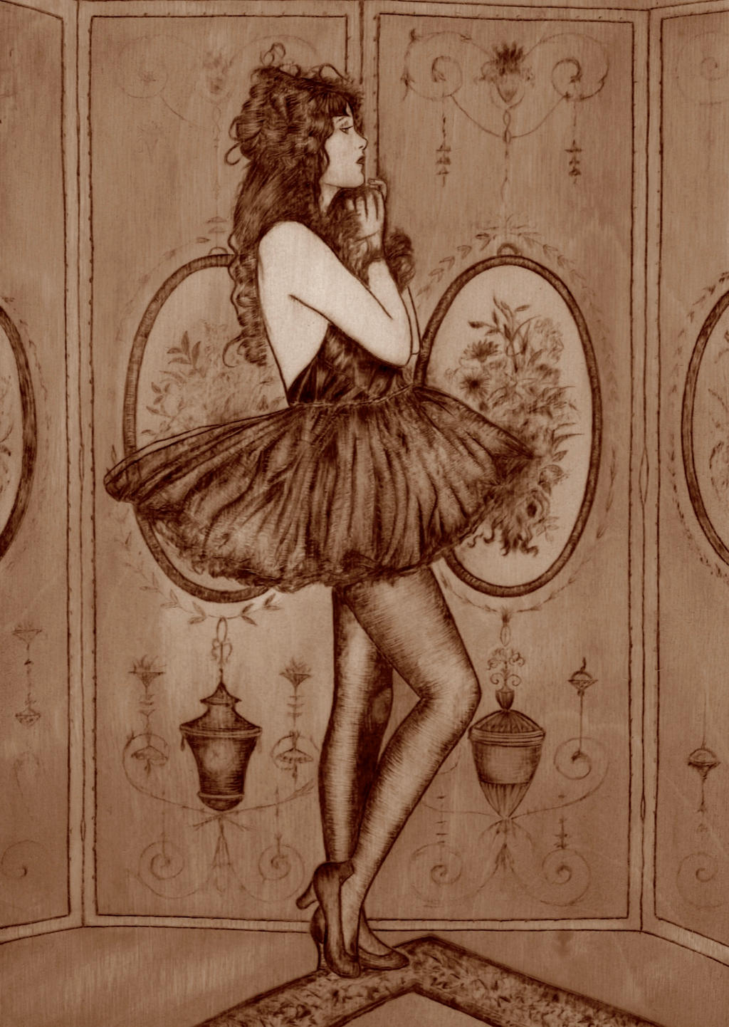 Dolores Costello . Pyrography and ink