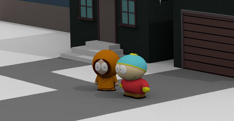 Cartman and Kenny in front of house