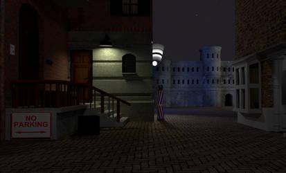 Alleyway at night (3d scene)