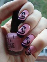 Pink Heart Nail Art by DancingGinger