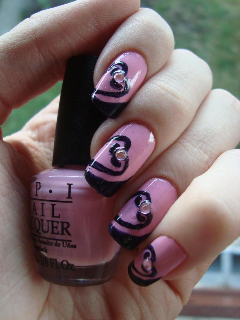 Pink Heart Nail Art By Dancingginger On Deviantart