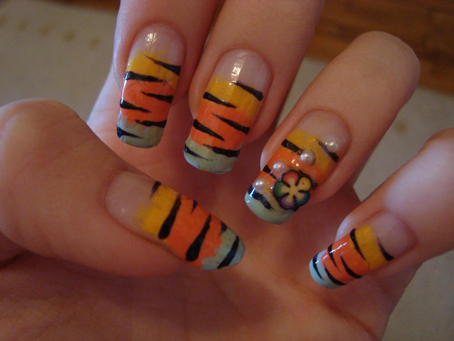 Colorful zebra nail art by DancingGinger