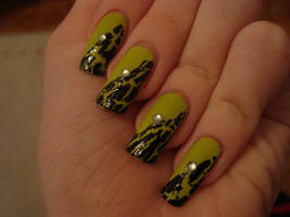 Green and black crackle nails by DancingGinger