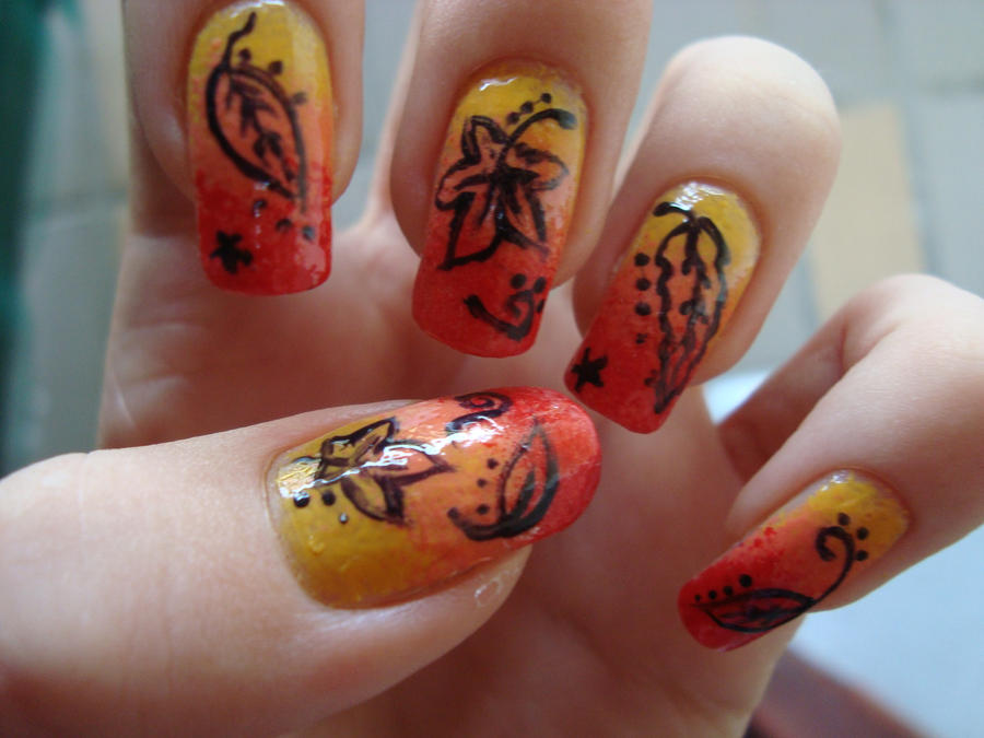 Autumn nails by DancingGinger on DeviantArt