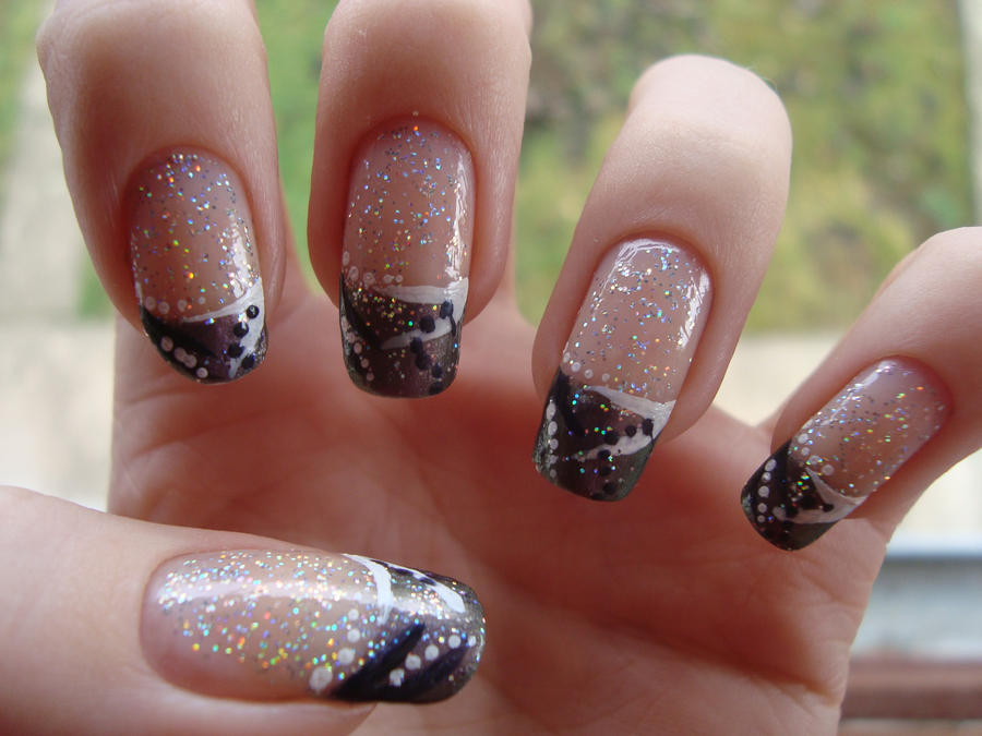 Abstract French Tip Nails by DancingGinger on DeviantArt