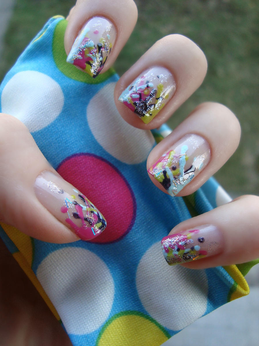 24 perfect paint splatter nail art ledufa plain nail art stiletto nails neon comic book style with a dash of cheetah and tribal print this is a recreation of someone elses design by request of a prinsesfo Gallery