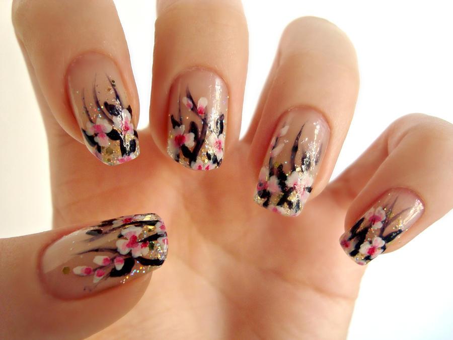 Nail Art Gallery Flowers : White pink flowers nail art by dancingginger on  deviantart - Nail Art Gallery Flowers ~ Summer Nail Art Ideas