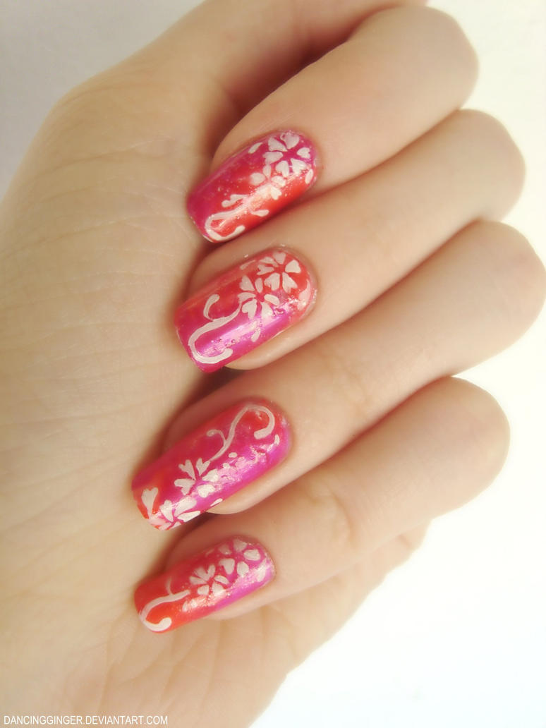 Nailsymo: Orange/Pink With White Flowers By DancingGinger On DeviantArt