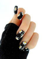 White Flower Black Nails by DancingGinger